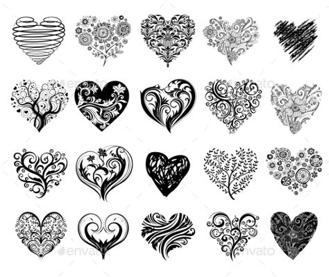 Set of 20 tattoo hearts, vector image.