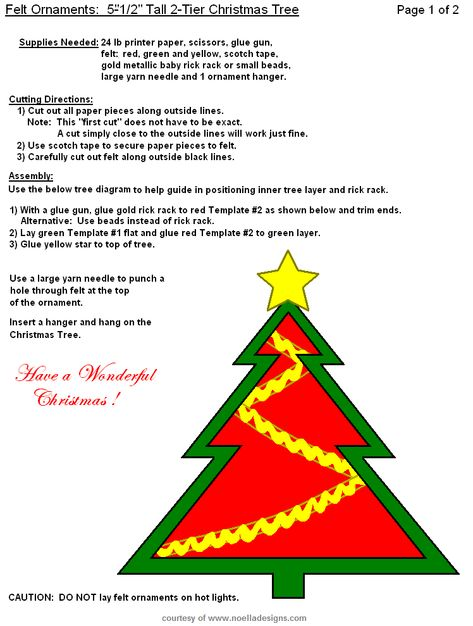 FREE Printable Christmas Felt Ornament Templates Hand Sewing - tree diagram template