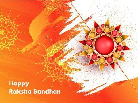 Happy Raksha Bandhan Greeting Card Design With Beautiful Rakhi