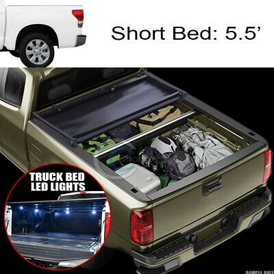 Sponsored Ebay Tri Fold Soft Tonneau Cover 16x Led Lights For 07 16 Tundra Crewmax 5 5 Ft Bed Tonneau Cover Truck Bed Led Lights