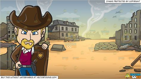 An American Old West Sheriff and War Zone Background