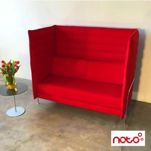 Vitra Alcove Highback Two Seater Sofa Red Fabric Bouroullec Designer Furniture With Images Furniture Design Furniture Red Sofa