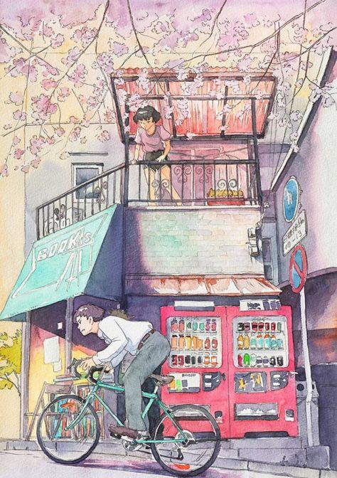 Viajes en #bicicleta plasmados en bellas pinturas