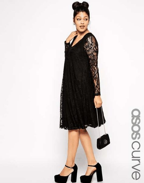 c887714e13ba ASOS CURVE | Exclusive Swing Dress In Lace With Deep V & Sleeve In Longer  Length #asoscurve #dress