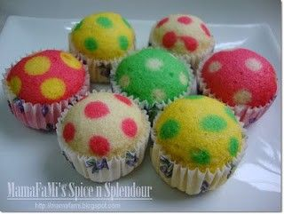 Polka dot cupcakes, pour in main color of batter half way and then pipe in second color of batter in small drops