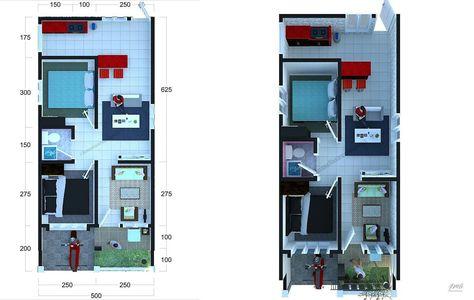 denah rumah minimalis 6x10 m terbaru | denah rumah, rumah