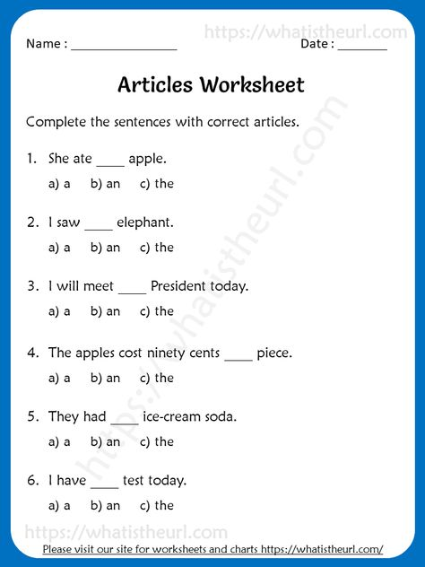 Articles Worksheets For 3rd Grade (a / an/the) - Your Home Teacher