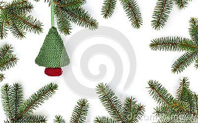 Knitted Christmas Bauble Christmas Tree In Frame Of Green Fir Branches On White Background Winter Composition New Year Background Flat Rozhdestvo Novyj God