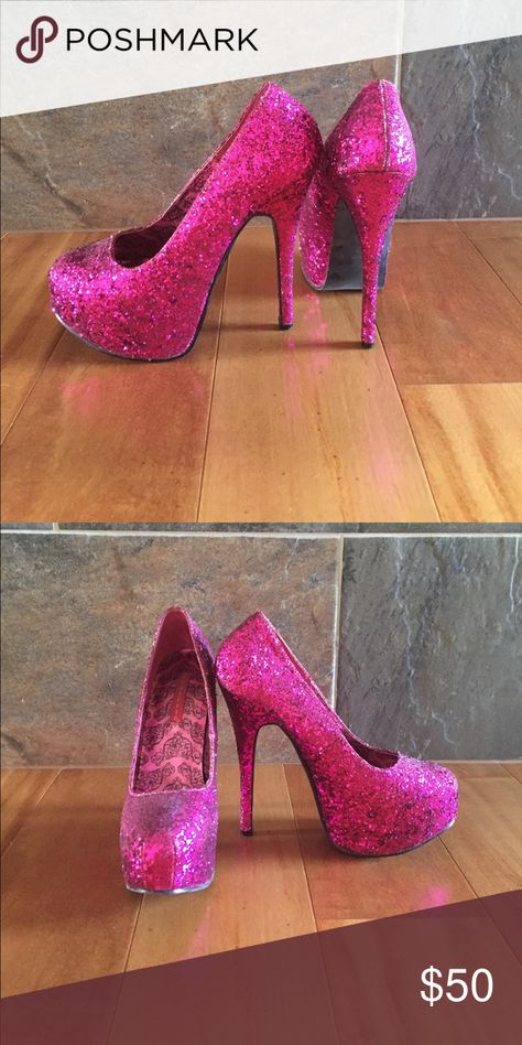 Glitter High Heels Pink Purple Pumps Barbie Platform Shoes