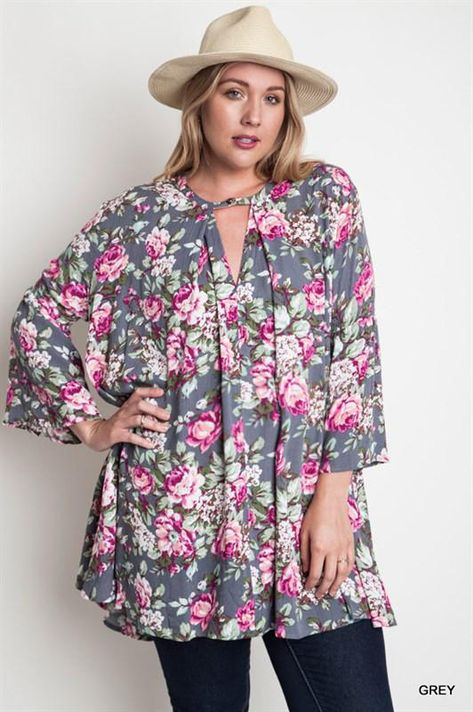 a878b4b01746 Floral Plus Size Maternity Top | Products | Grey floral dress, Tunic ...
