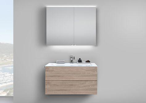 Badmobel Set Grifflos 90 Cm Glaswaschtisch Mit Unterschrank Spiegelschrank Unterschrank Spiegelschrank Und Badmobel Set