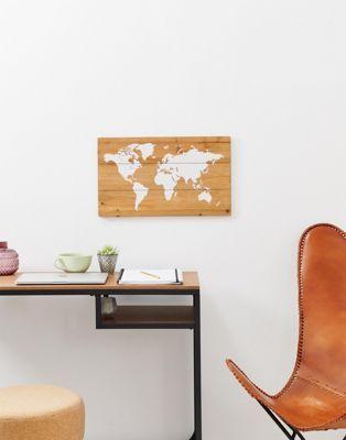 carte du monde à punaiser Chickidee   Tableau en bois à punaiser carte du monde | Map wall