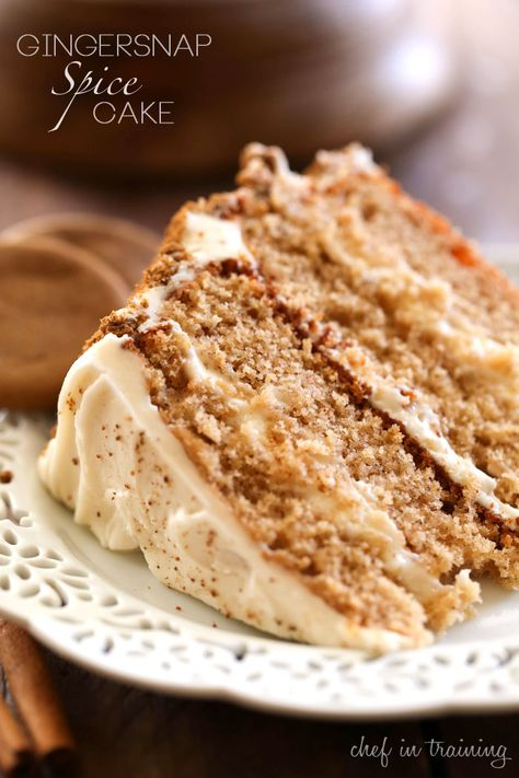 Gingersnap Spice Cake recipe, sounds like a good dessert for Thanksgiving Just Desserts, Delicious Desserts, Dessert Recipes, Spice Cake Recipes, Fall Cake Recipes, Recipe Spice, Holiday Baking, Christmas Baking, Cupcakes