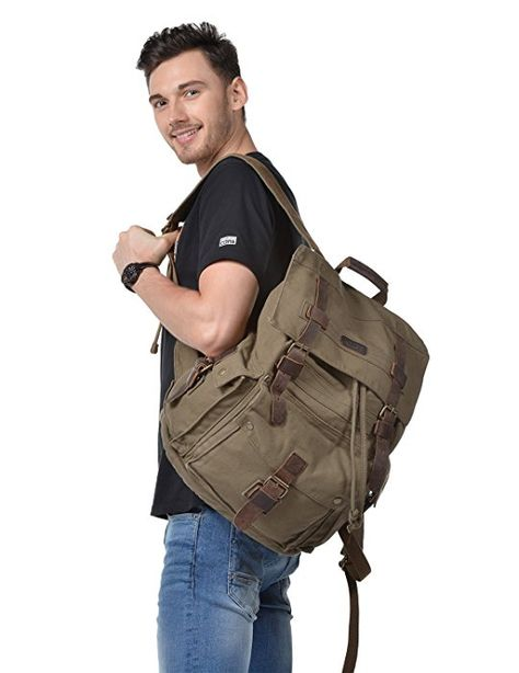 : Kattee Men's Leather Canvas Backpack Large