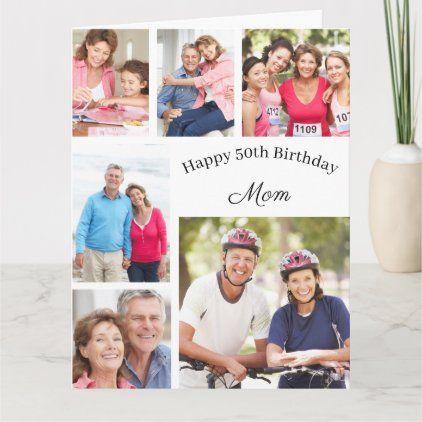 Mom 6 Photo Collage Any Age Big Happy Birthday Card Zazzle Com Birthday Cards For Mom Happy Birthday Cards Birthday Cards