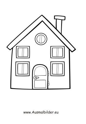 Ausmalbild Einfaches Haus Ausmalen Haus Zeichnung Und