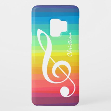 Personalized Rainbow Watercolor Treble Clef Case Mate Samsung Galaxy S9 Case Samsung Galaxy Case Samsung Galaxy Phone Cases Samsung Galaxy