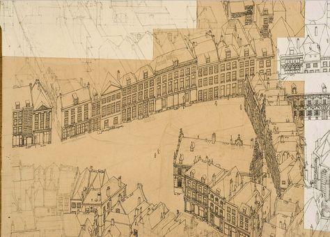 Grote Markt, tekening door Ben Luderer - Situatie eind 19e eeuw.