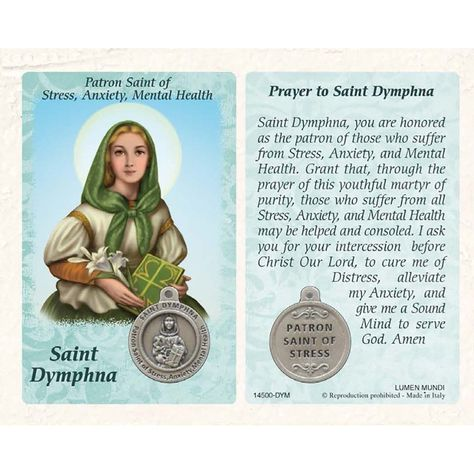 St. Dymphna Prayer Card with Medal -  Healing Saint for Stress, Anxiety & Mental Health - Lumen Mundi