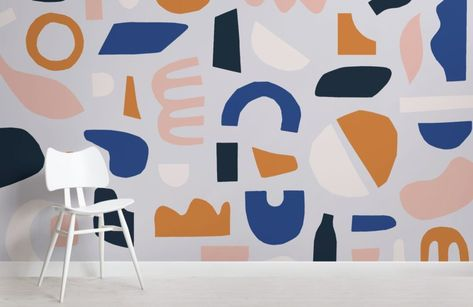 Blue & Brown Rustic Abstract Shapes Wallpaper Mural