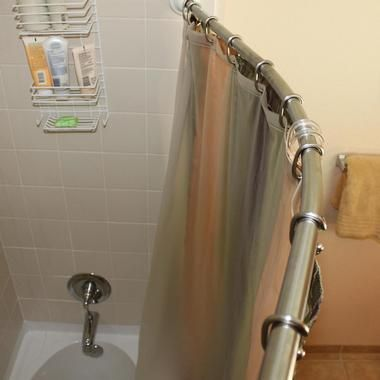 Rotator Curved Rod Shower Rod Great For A Smaller Bathroom Because You Can Rotate The Curved Part Of The Shower Shower Curtain Rods Shower Curtain Shower Rod