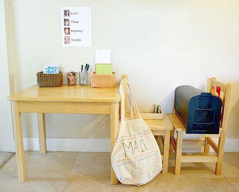Inspiring pretend play spaces: mail room