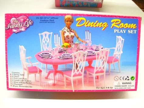 NEW FANCY LIFE DOLL HOUSE FURNITURE DINING Room With Hutch PLAYSET 24011
