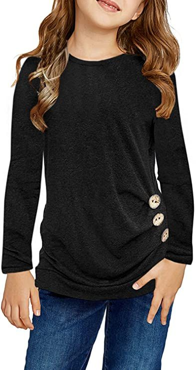 GORLYA Girls Pullover Tops Cute Cartoon Graphic Print Sweatshirt Clothes for 4-14 Years Kids