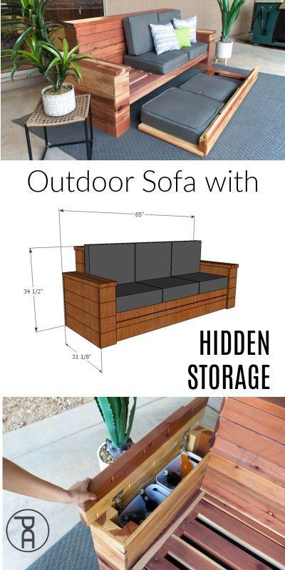 Outdoor Sofa With Hidden Storage Building Plans Wood Furniture Plans Outdoor Wood Furniture Outdoor Wood Furniture Plans