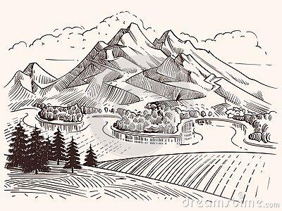 Paysage De Montagne De Dessin Au Crayon Illustration De Vecteur De Montagnes Et De Sapins De Cr Dessin Paysage Noir Et Blanc Croquis De Paysage Dessin Montagne