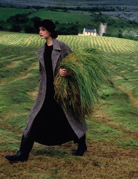 Nadja Auermann in Ireland. Vogue, 1993  Photo by Arthur Elgort
