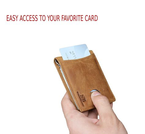 08d23d193ac3 Travel Wallet RFID Blocking Bifold Slim Genuine Leather Thin Minimalist  Front Pocket Wallets for Men Money Clip - Made From Full Grain Leather  (California ...