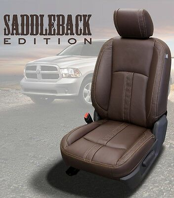2013 2018 Dodge Ram Crew Cab Katzkin Saddleback Canyon Brown Leather Seat Covers Ebay Leather Seat Covers Seat Covers Dodge Ram Crew Cab