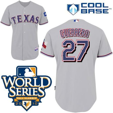 c1e4488f1 ... Rangers 27 Vladimir Guerrero Grey Cool Base w2010 World Series Patch  Embroidered MLB Jersey!