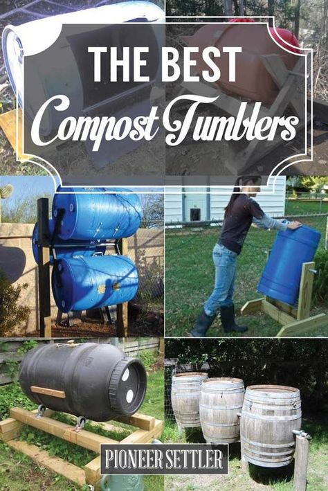 13 Best DIY Compost Tumblers  | Make Your Own Organic Garden Fertilizer With These Easy And Inexpensive Compost Tumbler by Pioneer Settler at  http://pioneersettler.com/compost-tumblers/