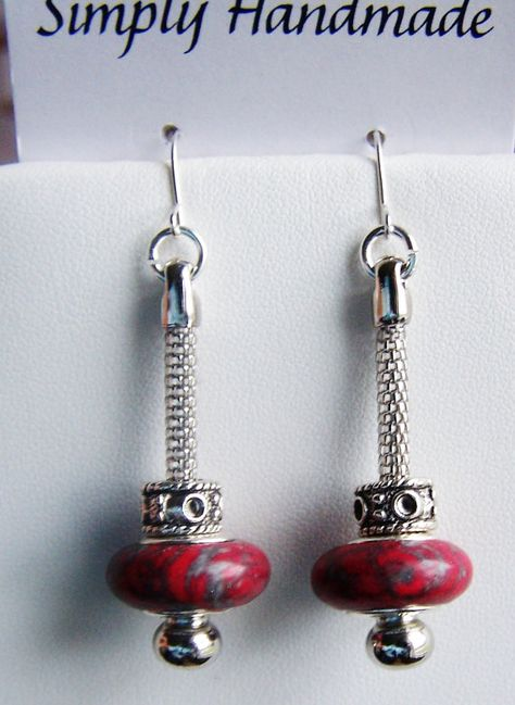 Long large hole red turquoise stone beaded earrings by beadhobby