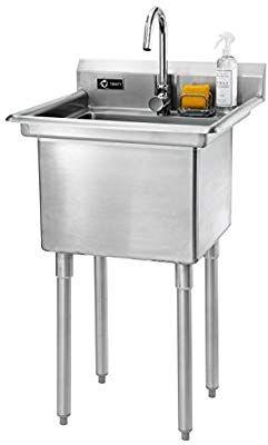 Amazon Com Trinity Stainless Steel Utility Sink W X 23 3 D X 46 H Home Kitchen Stainless Steel Utility Sink Utility Sink Laundry Room Sink