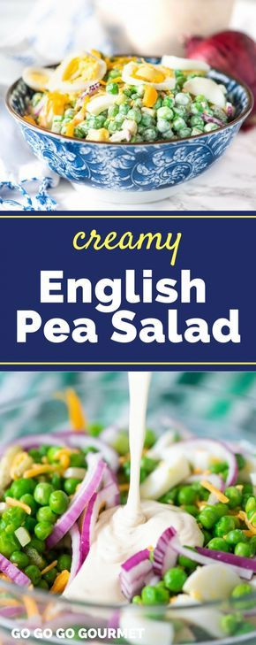 Looking for some new lunch ideas? This easy English Pea Salad is one of the best recipes out there! This pea salad is served cold, so it's perfect for summer BBQs. You can even add some extra flavor with bacon! #peasalad #creamypeasaladrecipes #summerbbqrecipes #gogogogourmet