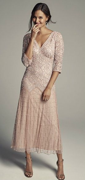 Light Pink Mother of the Bride Groom Dresses 3//4 Sleeves Plus Size Custom Made