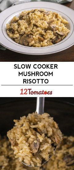 Slow Cooker Mushroom Risotto Make With Vegetable Stock For Me Risotto Recipes Slow Cooker Recipes Slow Cooker Vegetarian
