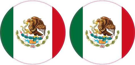 2in X 2in Circle Mexico Flag Stickers In 2019 Flags