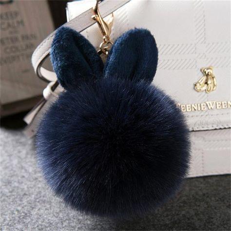 2018 Fourrure Pom Pom Keychains Faux Rabbit Fur Ball Key Chain porte clef pompon