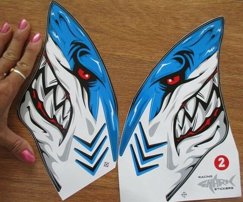 Jaws shark racing stickers 8 inch 20 cm waterproof for yamaha scooter gas tank