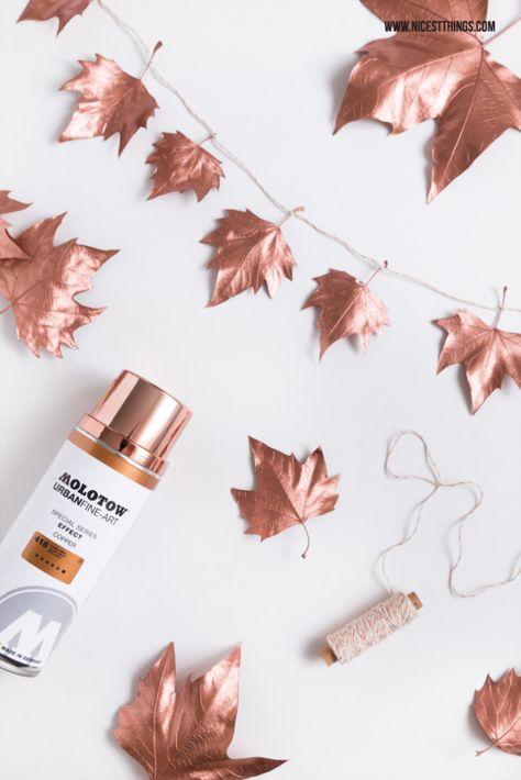 DIY Herbstdeko: Girlande aus Blättern mit Kupfer-Sprühfarbe