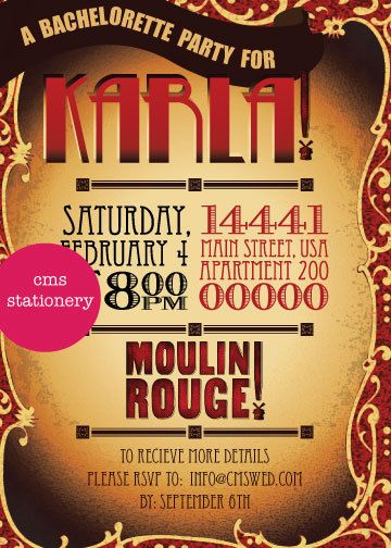 moulin rouge bachelorette party invitations by cms stationery Arte