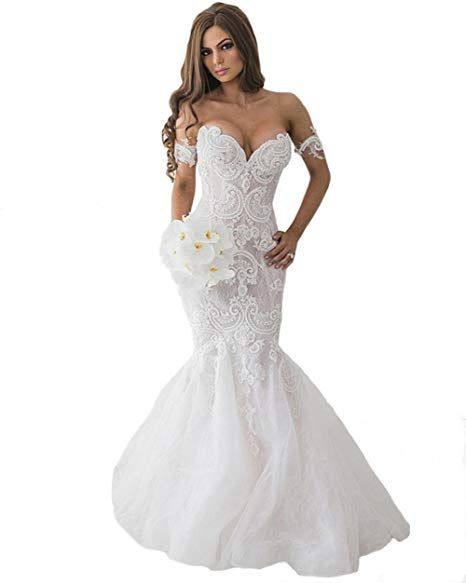 Tsbridal Lace Mermaid Wedding Dresses 2019 Sweetheart Wedding Gowns