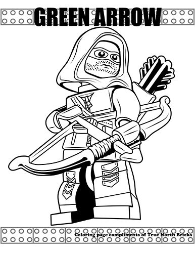 Coloring Page Green Arrow True North Bricks Lego Coloring Pages Coloring Pages Batman Coloring Pages