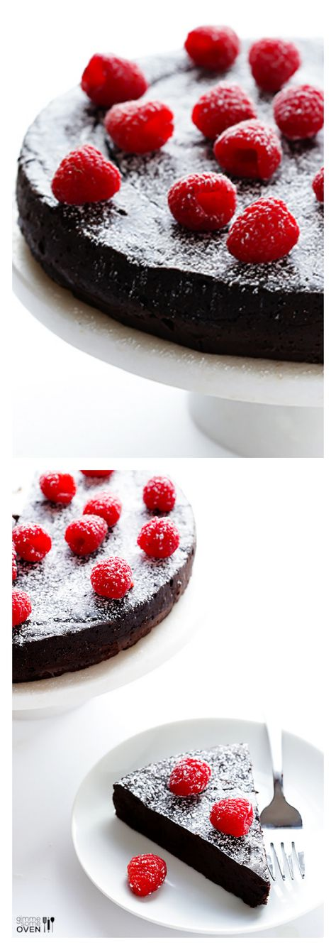 3-Ingredient Flourless Chocolate Cake -- simple to make, gluten-free, and positively decadent | gimmesomeoven.com