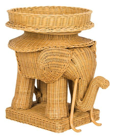 Elephant Accent Table Elephant Table Wicker Side Table Rattan Side Table