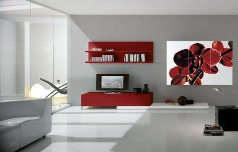 Meubles De Salon Moderne En Blanc Et Rouge Et Déco Murale